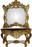 Casa Padrino Luxus Barock Spiegelkonsole mit Marmorplatte Gold 175 x H265 cm - Hotel Möbel - Limited Edition