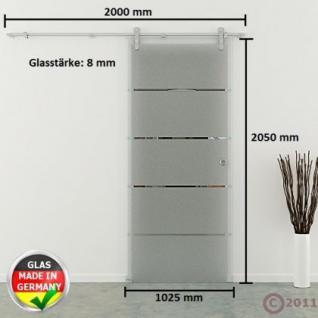 Ganzglasschiebetür 1025x2050x8mm Edelstahl Schiebesystem gestreift Muschlgriff - Vorschau 4