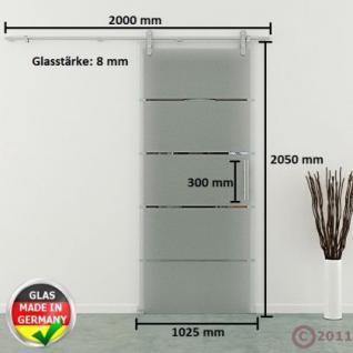 Glasschiebetür 1025x2050 x 8 mm Streifen waagerecht Edelstahlsystem Stangengriff - Vorschau 4
