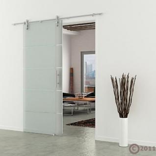 Glasschiebetür 1025x2050 x 8 mm Streifen waagerecht Edelstahlsystem Stangengriff - Vorschau 1