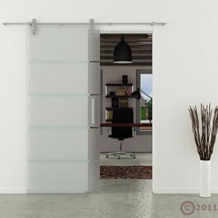 Glasschiebetür 1025x2050 x 8 mm Streifen waagerecht Edelstahlsystem Stangengriff - Vorschau 2