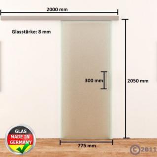 Ganzglasschiebetür ESG 775x2050mm Satiniert Edelstahl - Vorschau 4