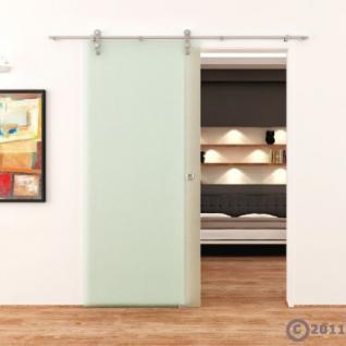 Satinierte Ganzglasschiebetür 775x2050x8mm Edelstahlsysystem - Vorschau 2