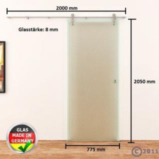 Satinierte Ganzglasschiebetür 775x2050x8mm Edelstahlsysystem - Vorschau 4