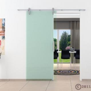 Glasschiebtür 900x 2050 mm Klarglas Edelstahl Stange - Vorschau 2