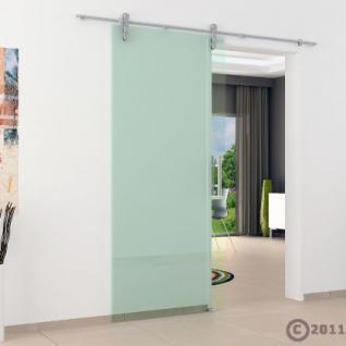 Glasschiebtür 900x 2050 mm Klarglas Edelstahl Stange - Vorschau 3