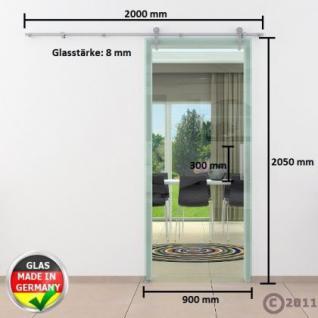 Glasschiebtür 900x 2050 mm Klarglas Edelstahl Stange - Vorschau 4
