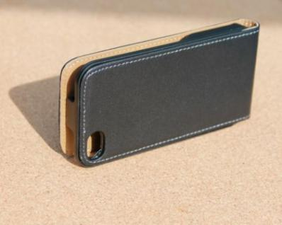 iPhone 4 Cover Leder Hülle zum umklappen. Komplett-Schutz Handy / Smartphone - Schwarz & Edel