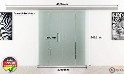 Doppel-Glasschiebetür 2x1025x2050mm 2-flügelig senkrecht gestreift Stangengriffe - Vorschau 4