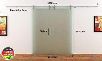 2 Glasschiebetüren Voll-Satiniert 2050 x 2050 mm Muschelgriff Edelstahl-Schiene - Vorschau 4