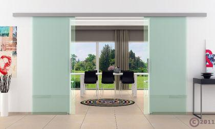 Doppel-Glasschiebetür Klarglas 2 x 775 x 2050 mm komplett Edelstahl-Stangengriff - Vorschau 2