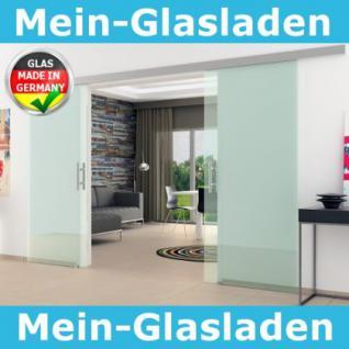 Doppel-Glasschiebetür Klarglas 2 x 1025 x 2050 mm komplett Edelstahl-Stangengriff