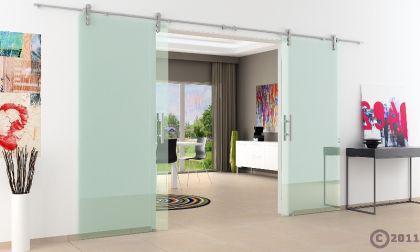 Edelstsystem Glasschiebetür 2-flügelig 1550 x 2050 x 8 mm Stangengriff Edelstahl - Vorschau 3