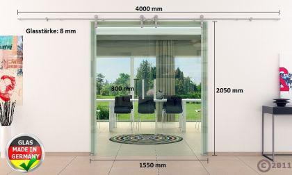 Edelstsystem Glasschiebetür 2-flügelig 1550 x 2050 x 8 mm Stangengriff Edelstahl - Vorschau 4