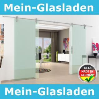 Edelstsystem Glasschiebetür 2-flügelig 2050 x 2050 x 8 mm Stangengriff Edelstahl