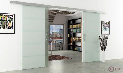 Glasschiebetüren 2-flg. 1550x2050mm gestreift satiniert - Vorschau 3