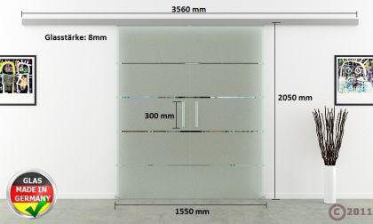 Glasschiebetüren 2-flg. 1550x2050mm gestreift satiniert - Vorschau 4