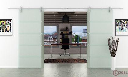 Glasschiebetür Doppelflügelig Edelstahlsystem 1550x2050 - Vorschau 2