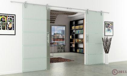 Glasschiebetür Doppelflügelig Edelstahlsystem 1550x2050 - Vorschau 3