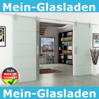 Glasschiebetür Doppelflügelig Edelstahlsystem 1550x2050 - Vorschau 1