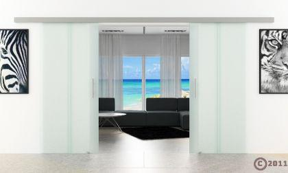 Doppel-Glasschiebetür 2x1025x2050mm 2-flügelig senkrecht gestreift Stangengriffe - Vorschau 2