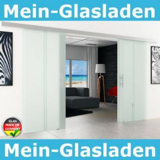 Doppel-Glasschiebetür 2x900x2050mm 2-flügelig senkrecht gestreift Stangengriffe - Vorschau 1