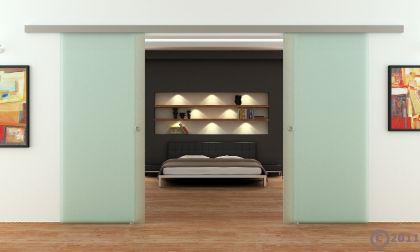 Doppel-Glasschiebetür 2 x 775 x 2050 mm 2-flügelig satiniert Muschelgriffe | NEU - Vorschau 2