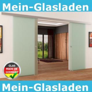 Doppel-Glasschiebetür 2 x 1025 x 2050 mm 2-flügelig satiniert Muschelgriffe | NEU