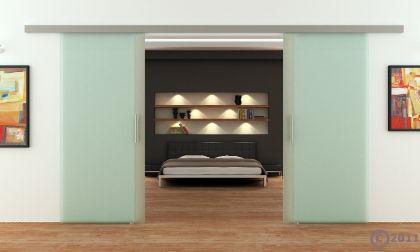 Glasschiebetüren 2x775x2050mm 2-flügelig Stangengriff - Vorschau 2