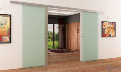 Glasschiebetüren DORMA AGILE 50 | 2x775x2050mm | Satino | Anlage komplett | NEU - Vorschau 3