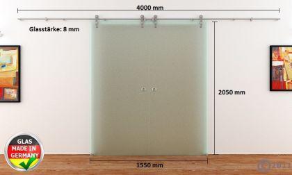 2 Glasschiebetüren Voll-Satiniert 1550x2050 Muschelgr. - Vorschau 4