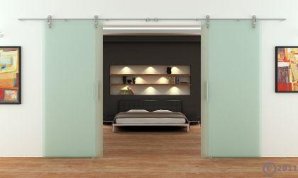2 glasschiebet ren voll satiniert 1800 x 2050 mm muschelgriff edelstahl schiene kaufen bei jan. Black Bedroom Furniture Sets. Home Design Ideas
