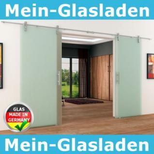 2 Glasschiebetüren Voll-Satiniert 1550 x 2050 mm Muschelgriff Edelstahl-Schiene