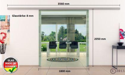 Klarglas-Schiebetür 2x900x2050mm 2-flügelig komplett - Vorschau 4