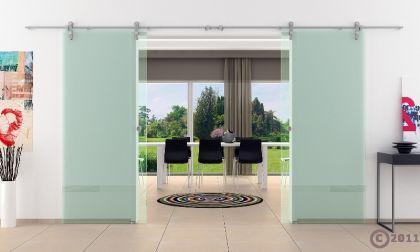 2 Glasschiebetüren Klarglas 2050x2050mm Gesamtmaß edel - Vorschau 2