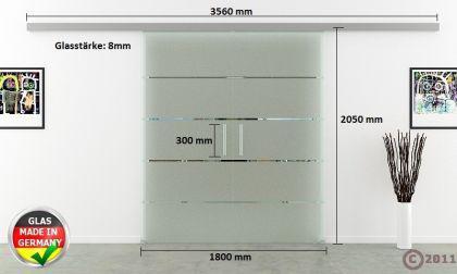 Glasschiebetüren 2-flg. 1800x2050mm gestreift satiniert - Vorschau 4