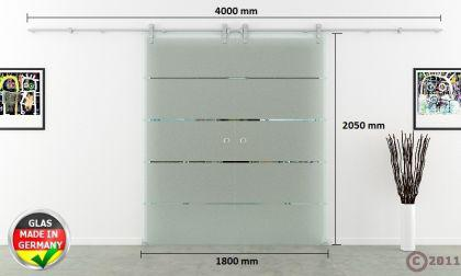 Doppel-Glasschiebetür 1800x2050mm 2-flügelig gestreift - Vorschau 4