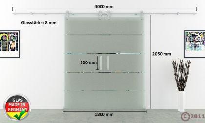 Glasschiebetür Doppelflügelig Edelstahlsystem 1550x2050 - Vorschau 4