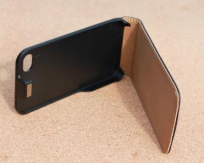 iPhone 4 Cover Leder Hülle zum umklappen. Komplett-Schutz Handy / Smartphone - Schwarz & Edel - Vorschau 2