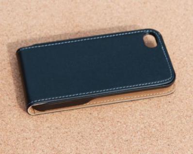 iPhone 4 Cover Leder Hülle zum umklappen. Komplett-Schutz Handy / Smartphone - Schwarz & Edel - Vorschau 3