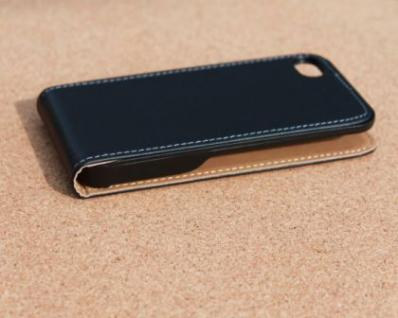 iPhone 4 Cover Leder Hülle zum umklappen. Komplett-Schutz Handy / Smartphone - Schwarz & Edel - Vorschau 4