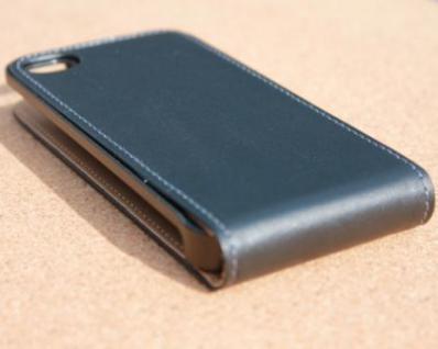 iPhone 4 Cover Leder Hülle zum umklappen. Komplett-Schutz Handy / Smartphone - Schwarz & Edel - Vorschau 5