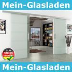 Glasschiebetüren 2-flg. 2050x2050mm gestreift satiniert