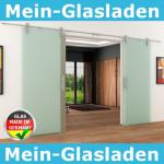 2 Glasschiebetüren Voll-Satiniert 1800 x 2050 mm Muschelgriff Edelstahl-Schiene