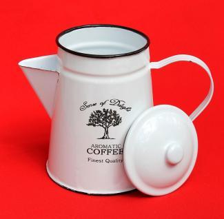 Emaille Kaffeekanne 18cm emailliert 51202 Coffee Weiß Wasserkanne Kanne Teekanne - Vorschau 3