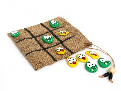 Tic Tac Toe Spiel Holz Drei Gewinnt handgemacht 4101 Seeschach Spielset für unterwegs mehrfarbig