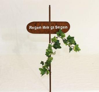 """Rankhilfe Gartenstecker """" Regen bringt Segen"""" H-120cm Kletterhilfe Stecker Metall"""