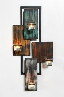 DanDiBo Wandteelichthalter Abstrakt Metall Wand Schwarz 61 cm Teelichthalter Kerzenhalter Wandkerzenhalter Wandleuchter