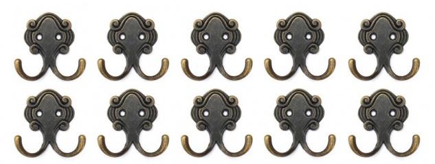 10x Wandhaken Kleiderhaken 5, 2 cm aus Metall Messing Haken Garderobenhaken