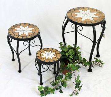 Blumenhocker Merano Mosaik 3er Set 12014 Blumenständer 20 , 27, 37cm Hocker Rund